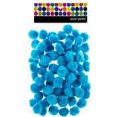 Pom Poms, 1 inch, Turquoise, 80 count