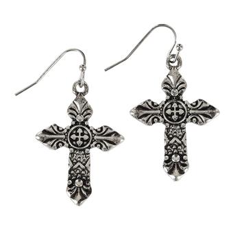 Bella Grace, Scroll Cross Dangle Earrings, Zinc Alloy, Burnished Silver