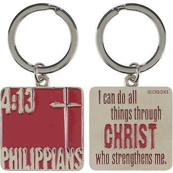 Dicksons, Philippians 4:13 I Can Do All Things Keyring, Chrome, Silver, 2 1/2 x 1 1/2 inches