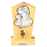 Logos Trading Post, Virgin Mother Mary and Child Silver Plated Icon Plaque, Olive Wood, 4 x 2 3/8 Inches