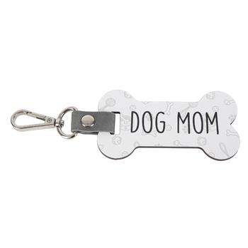 P. Graham Dunn, Dog Mom Bone Key Chain, Wood, 4 x 2 1/4 inches
