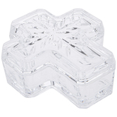 Crystal Cross Shaped Glass Trinket Dish with Lid, Clear, 4 x 4.50 x 1.69 Inches