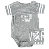 New Ewe, Worth the Wait, Baby Short Sleeve Onesie, Gray and White, Newborn-18 Months
