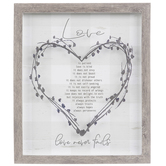 1 Corinthians 13:4-8 Love Is Patient Framed Wall Decor, Wood and Glass, Gray and Brown, 14 x 12 x 1 1/4 inches