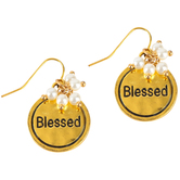 Bella Grace, Blessed Pearl Dangle Earrings, Zinc Alloy & Iron, Gold