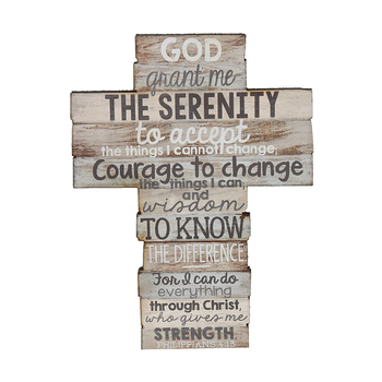 Lighthouse Christian Products, Serenity Prayer/Philippians 4:13 Cross, MDF, 4 3/8 x 5 3/4 x 1/2 inches