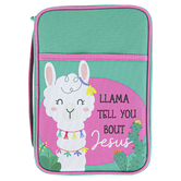 Dicksons, Llama Tell You Bout Jesus Bible Cover, Canvas, Green & Pink
