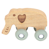 Stephan Baby, Elephant Teething Toy, Beech Wood & Silicone, 2 3/4 x 3 3/4 inches