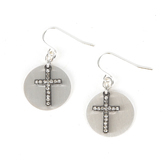 His Truly, Round Medallion and Bling Cross Dangle Earrings, Zinc Alloy, Brushed Silver