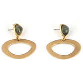 Set Free, Green Stone with Gold Oval Loop Dangle Earrings, Zinc Alloy, Brushed Gold
