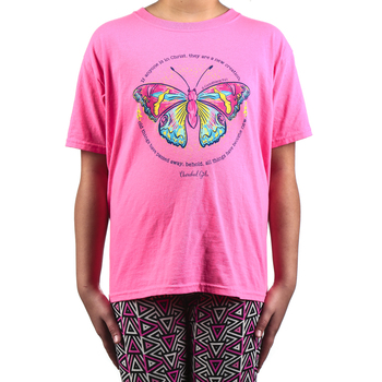 Kerusso, 2 Corinthians 5:17 New Creation Butterfly, Kid's Short Sleeve T-shirt, Safety Pink, 3T-Youth Large