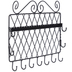 Eleven Hook Wall Mount Accessory Organizer, Black Metal, 12 x 9 1/2 inches