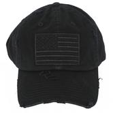 K&B Trading, Flag Patch Adjustable Vintage Cap, Black, One Size Fits Most