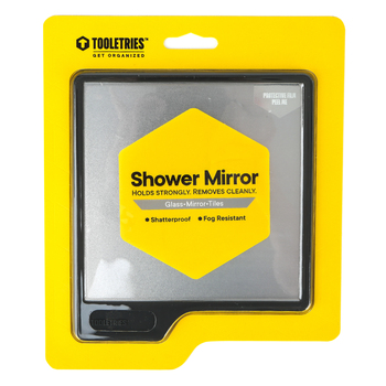 Tooletries, Oliver Shower Mirror, Silicone, Charcoal, 6 1/2 x 5 1/2 inches