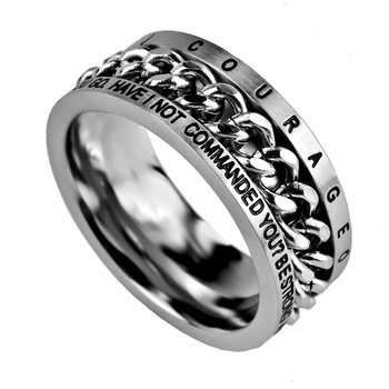 Spirit & Truth, Joshua 1:9, Courageous, Inset Chain, Men's Ring, Stainless Steel