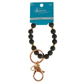the Jewelry Shoppe, Lava Bead Bracelet Keychain, Black, One Size Fits Most