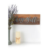 Hey Y'all Wall Decor, Wood and Galvanized Metal, Brown, 6 15/16 x 18 x 1 inches
