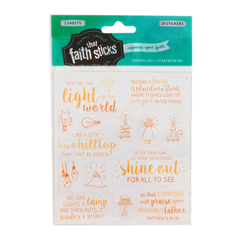 Faith that Sticks, Matthew 5:14-16 Stickers, Various Sizes, Clear, Pack of 28