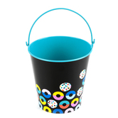Colorfetti Collection, Metal Bucket, Small 4 x 4.5-inch, Black and Teal with Dual-Colored Donuts