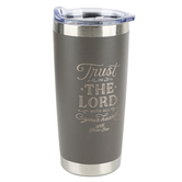 Christian Art Gifts, Proverbs 3:5 Trust In The Lord Travel Mug, Stainless Steel, Taupe, 20 ounces