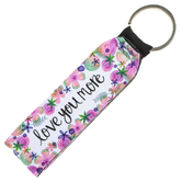 Brownlow Gifts, Love You More Wristlet Keychain, Neoprene, White and Purple, 6 1/2 Inches