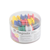 Charles Leonard, Button Style Round Magnets in Tub, Assorted Sizes and Colors, 30 Pieces