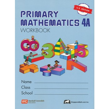 Singapore Math, Primary Math Workbook 4A, U.S. Edition, Paperback, 134 Pages, Grades 4-5