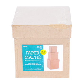 Paper Mache Square Box, Set of 3 with Removable Lids, Small 3, 4, and 5 x 5-Inches