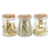 Fiddlestix Paperie, Binder Clips, Push Pins, & Paper Clips Jars, 2 1/4 inches Each, 3 Jars