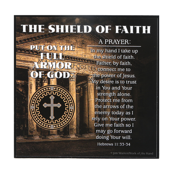 Dicksons, Ephesians 6:13-17 Armor of God Shield of Faith Plaque, MDF, 3 3/4 x 3 3/4 x 3/4 inches