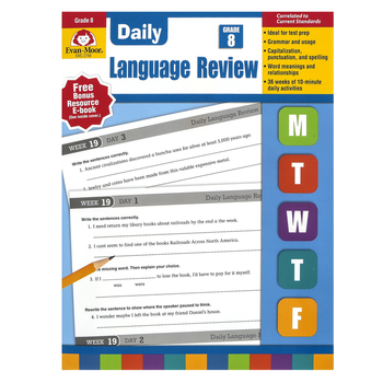 Evan-Moor, Daily Language Review, Grade 8, Teacher's Edition, Paperback, 136 Pages