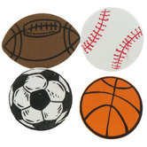 Sport Ball Foam Stickers, Shaped, 1/2 inch, 60 count