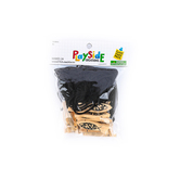Playside Creations, Wooden Fish Necklace, 1/2 x 2 Inches, Natural and Black, 24 Count