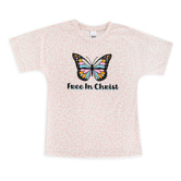 Southern Grace, Free In Christ, Kid's Short Sleeve T-shirt, Leopard Print, Ages 6-7