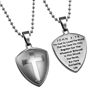 Spirit & Truth, John 3:16 Cross Shield Necklace, Stainless Steel, 24 inches