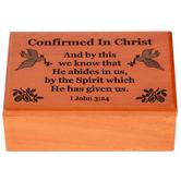 HJ Sherman, Confirmed in Christ Keepsake Box, Wood, Brown, 2 1/2 x 4 Inches