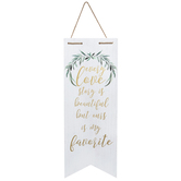 Every Love Story Pennant Wall Decor, MDF, White, 23 1/2 x 8 7/8 x 3/4 inches