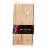 Wood Plank Table Cover, Plastic, Brown, 108 x 54 Inches