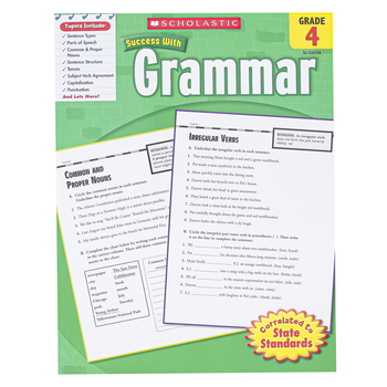 Scholastic, Success with Grammar Workbook, Reproducible Paperback, 64 Pages, Grade 4