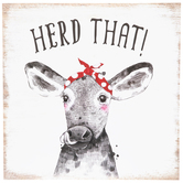 Open Road Brands, Herd That! Wall Decor, MDF, Black and White, 13 x 13 x 1/4 inches
