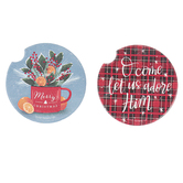 Renewing Faith, Merry Christmas Car Coasters, Absorbent Sandstone, 2 1/2 inches, Set of 2
