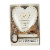 Demdaco, 50 Years of Love Golden Wedding Anniversary Art Heart, 3 1/4 x 4 inches
