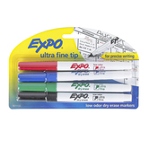 Expo, Low-Odor Dry Erase Markers, Ultra Fine Tip, Assorted Colors, 4-Pack