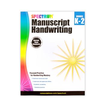 Spectrum Manuscript Handwriting Workbook, Paperback, 96 Pages, Grades K-2