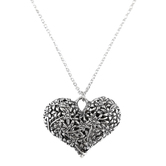 Bella Grace, Heart Pendant Necklace, Zinc Alloy, Burnished Silver, 18 inch Chain
