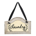 Laundry Wall Plaque, Wood, White and Black, 11 3/4 x 7 1/2 inches