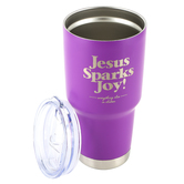 Kerusso, Joy From Jesus Stainless Steel Tumbler, Dual Wall, Magenta, Silver, 27 Ounces