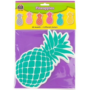Teacher Created Resources, Tropical Punch Pineapples Accents Cutouts, Multi-colored, 6 Inches, 30 Pieces