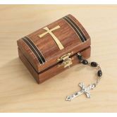 Gifts of Faith, Tapered Cross Rosary Box, Wood, 3 x 2 x 1 3/4 inches