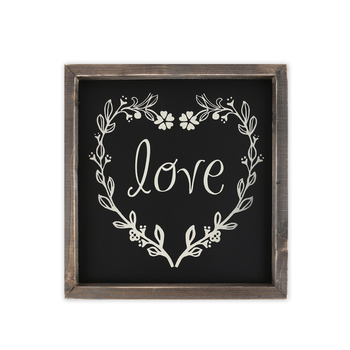 Love with Floral Wreath, Wooden Wall Art, 10 x 10 inches